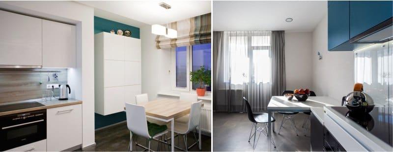 záclony v interiéru kuchyně v minimalismu