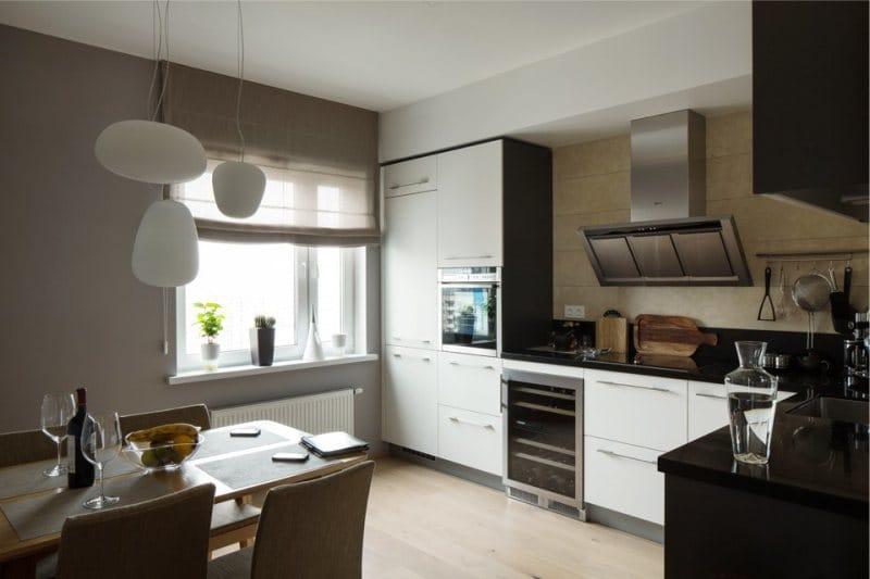 Stěny v interiéru kuchyně ve stylu minimalismu