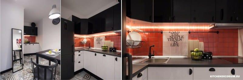 Tablier d'éclairage LED et comptoirs de cuisine