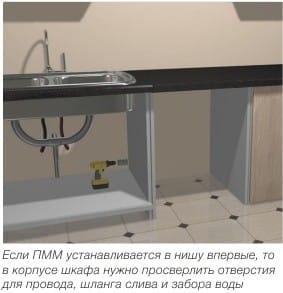 Installation d'un lave-vaisselle encastrable