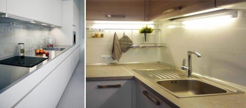 Beépített és felső lámpák a konyhában