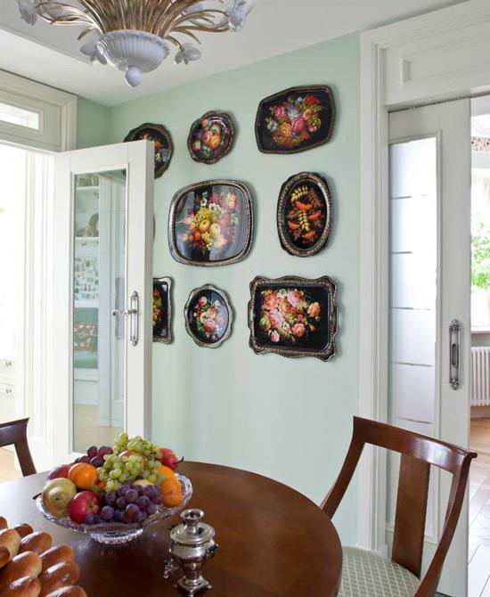 Zhostovo מגשים בעיצוב חדר האוכל