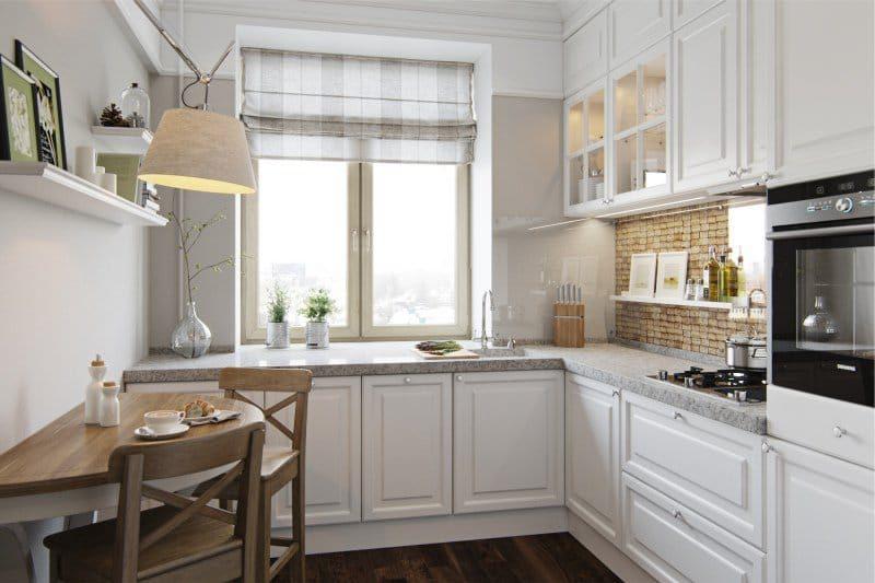 Cuisine classique blanche et nuances de beige