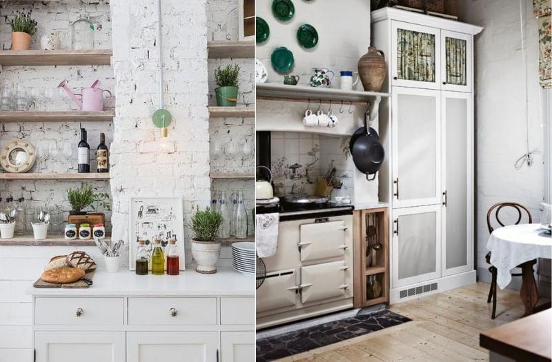 Valkoinen tiili seinät maalaismainen keittiö sisustus