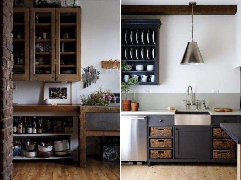 Valkoiset seinät keittiössä Provencen ja maan tyyliin