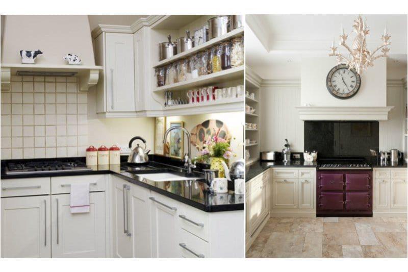 Comptoir noir en pierre artificielle à l'intérieur de la cuisine dans le style de classique