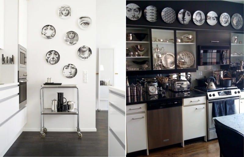 Dekoratív lemezek Pierrot Fornasetti a konyha belsejében