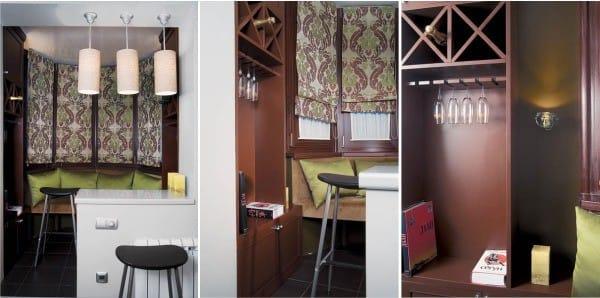 Kanapé, könyvtár és bár az erkélyen, konyhával kombinálva