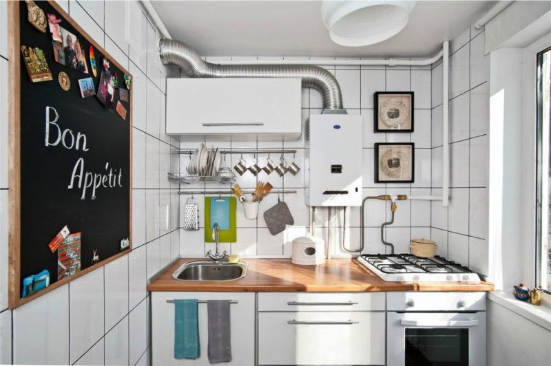 Liuskekortti keittiön sisätiloissa