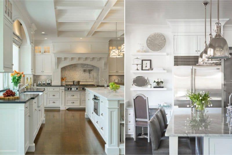 Caisson et rack plafond dans la cuisine classique