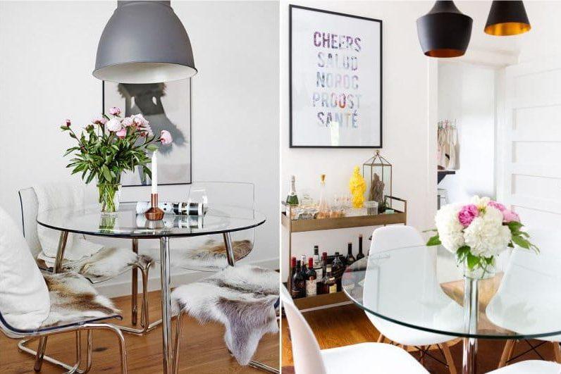 Kerek üveg asztal a konyhában