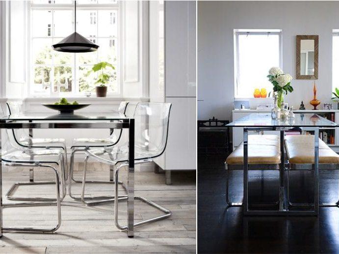 שולחן מטבח מזכוכית ומתכת
