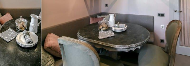 kerek étkező asztal mesterséges kőből