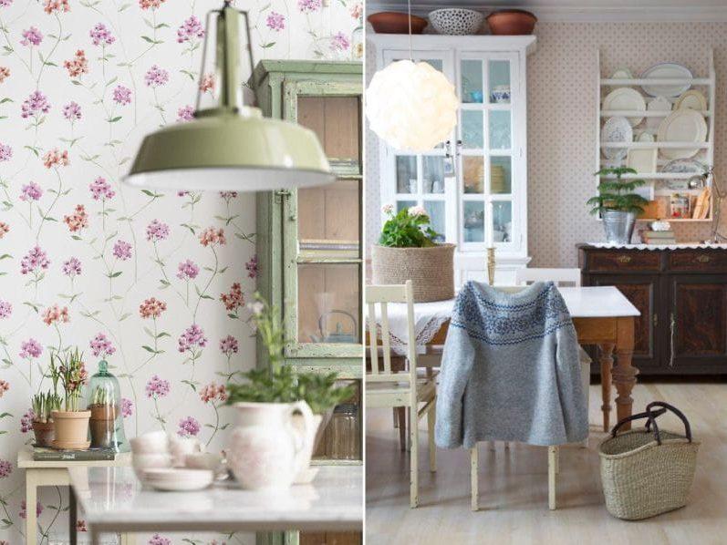 Taustakuva keittiön sisustuksessa maalaismaiseen tyyliin