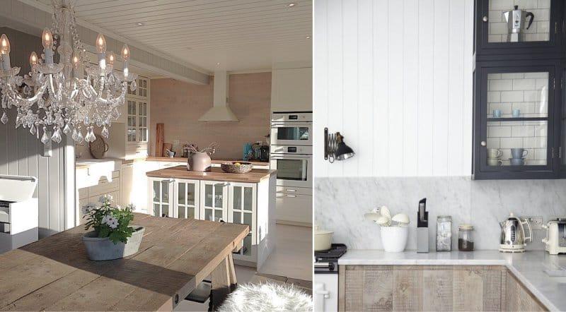 Keittiön seinien suojaaminen maalaistyylisessä pöydässä ja puussa