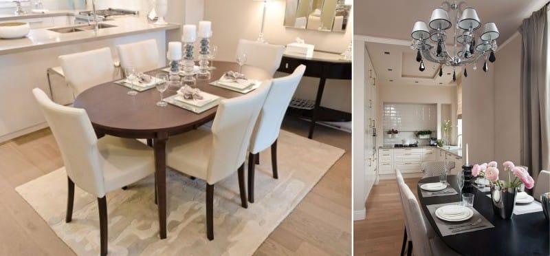 שולחן סגלגל בפנים חדר האוכל במטבח
