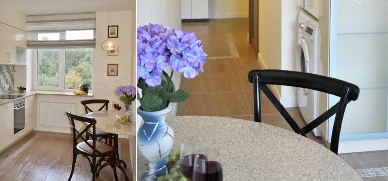 Puolipyöreä keittiöpöytä akryylikivestä