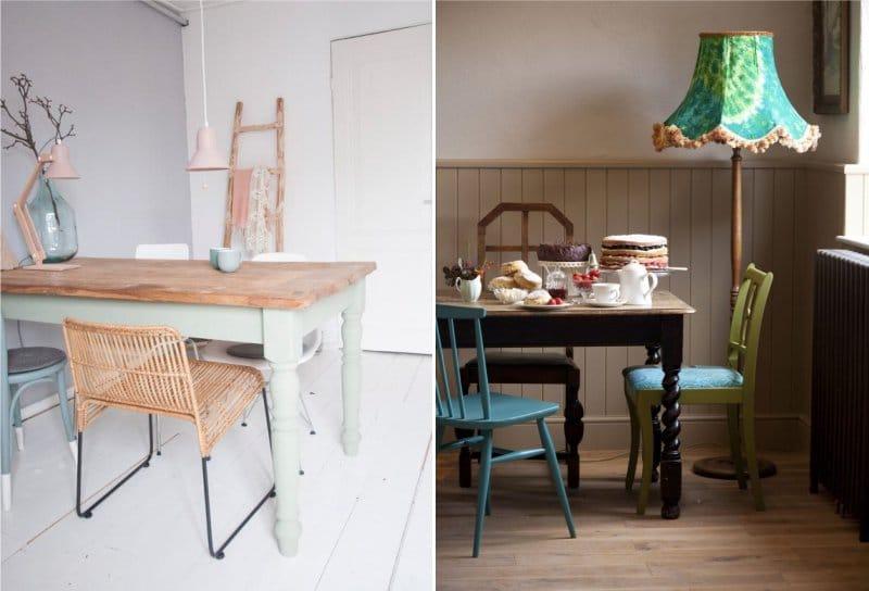 Eri tuolit maalaistyylisessä keittiössä