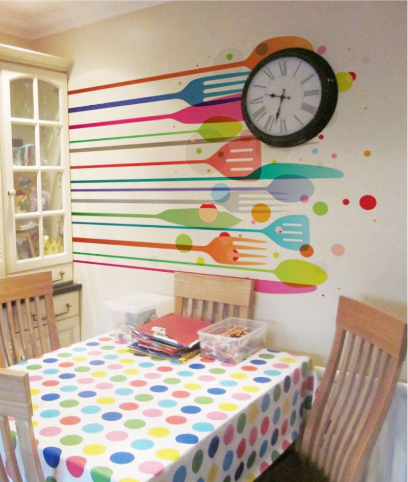 Piirustukset keittiön teeman seinältä