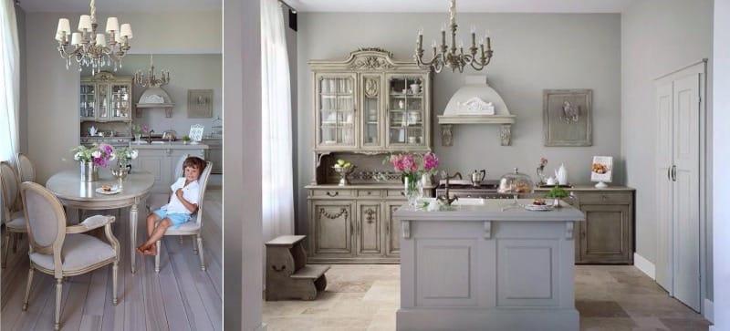Harmaat seinät keittiössä Provencen tyyliin