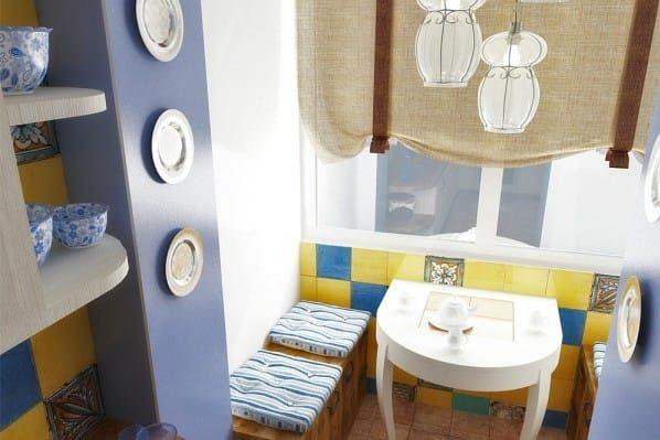Függönyök a konyhával kombinált loggia számára