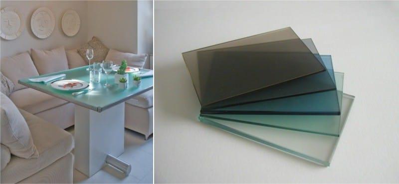 שולחן זכוכית פרוסטד דגימות זכוכית כהים