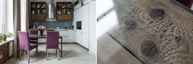 שולחן זכוכית ועץ במטבח
