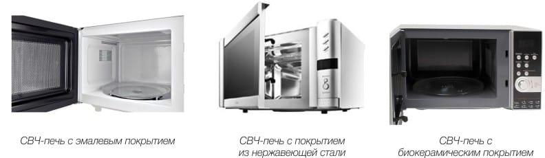 תנור מיקרוגל עם סוגים שונים של ציפויים