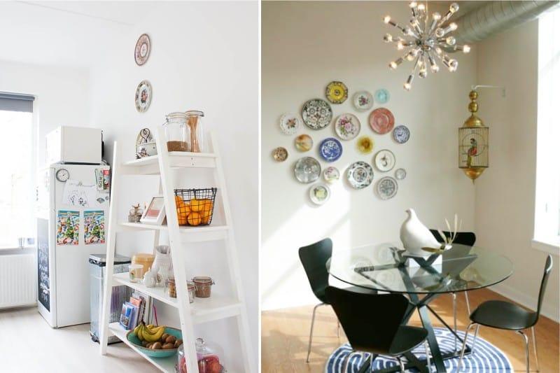 צלחות על קיר המטבח בסגנון מודרני