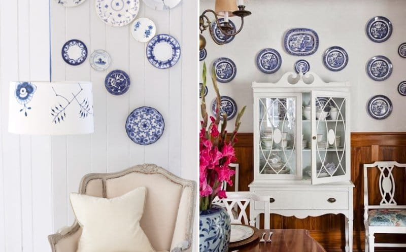 Kínai és Delftware lemezek a falon