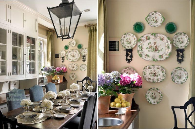 Lemezek a falon egy klasszikus konyha belsejében