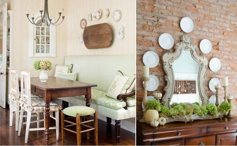 צלחות היו תלויים על הקיר בצורת קשת