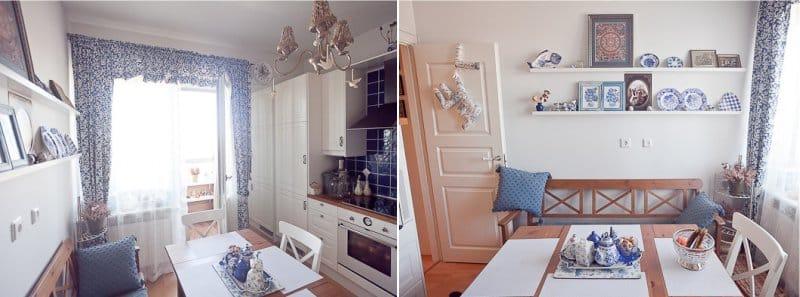 צלחות עם gzhel בפנים המטבח