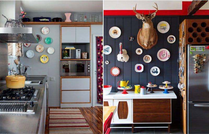 צלחות בפנים המטבח המודרני