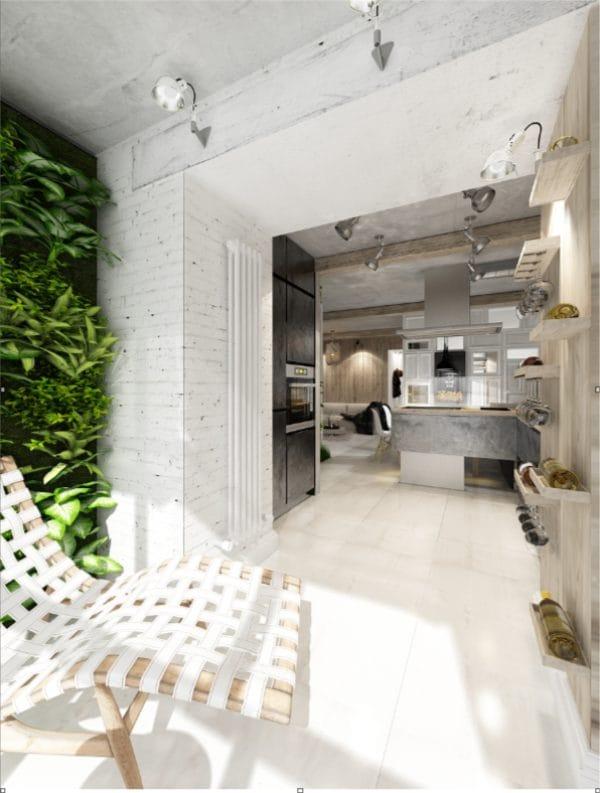 Rekreációs terület a loggiában, konyhával kombinálva