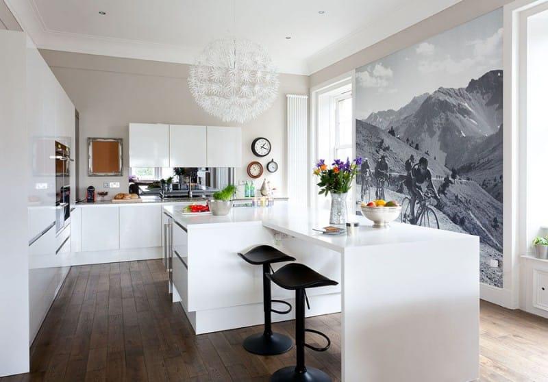 Mustavalkoiset taustakuvat luonnon teemoista keittiön sisätiloissa