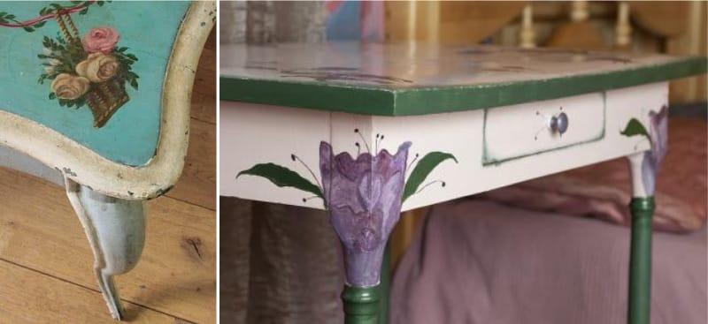 Decoupage meja dapur - motif bunga