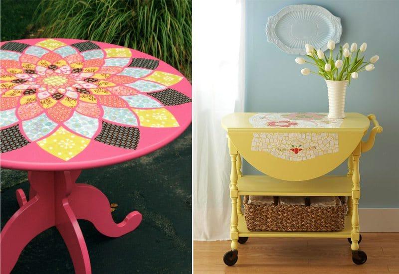 Meja dapur decoupage - idea-idea yang terang