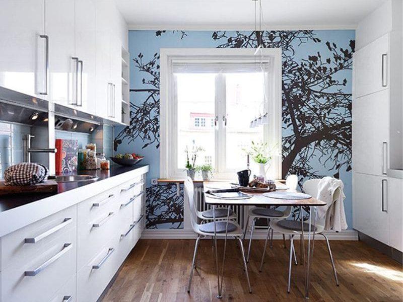 Photowall-paperi keittiöön, joka sijaitsee eteläpuolella