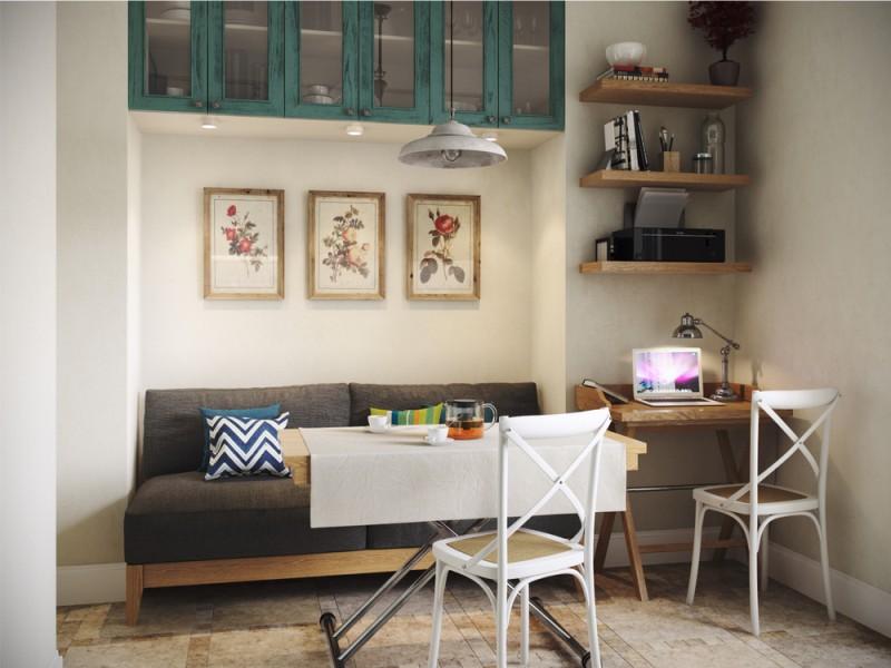 סטודיו למטבח פנימי עם שולחן שנאי