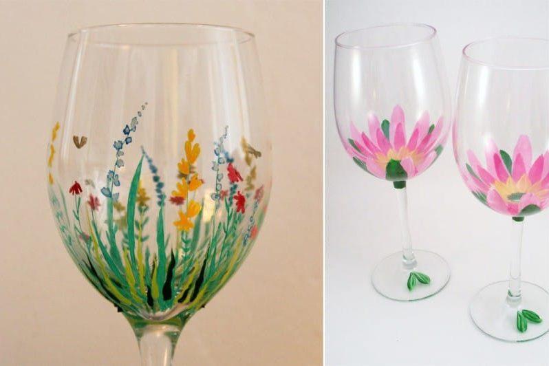 ציור של משקפיים - מוטיבים פרחוניים