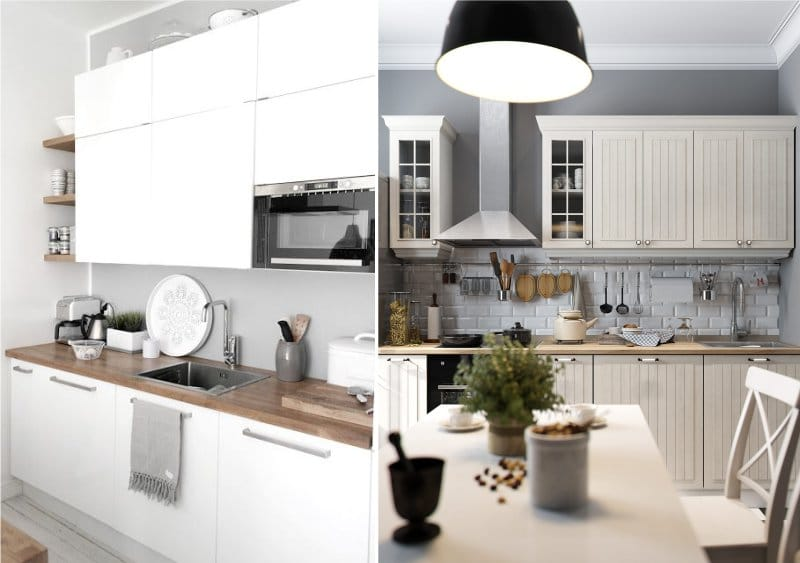 מטבח לבן עם קירות אפורים בפנים