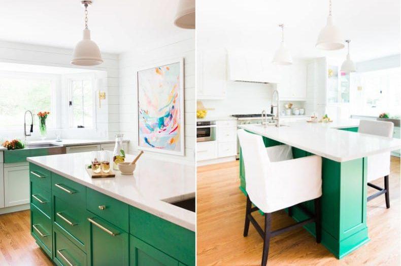 Fehér és zöld konyha