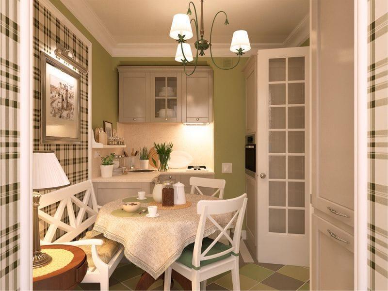 Bézs konyha és zöld falak