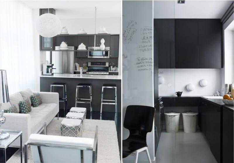 Musta keittiö nykyaikaisen ja minimalismin tyyliin