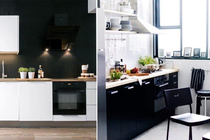 Musta ja valkoinen skandinaavinen keittiö