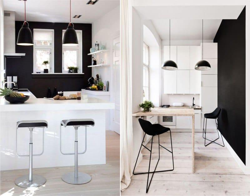 Mustat seinät pienessä keittiössä