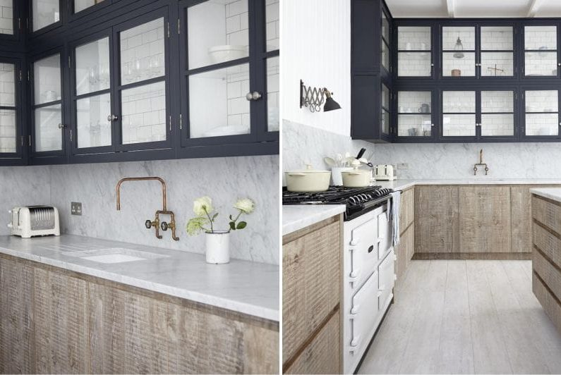 Musta väri ja vaalea puu keittiön sisätiloissa