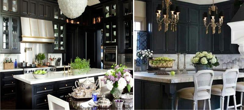 Musta ja valkoinen väri keittiön sisustuksessa klassisessa tyylissä.