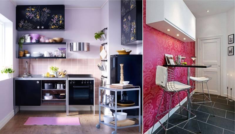 Musta ja vaaleanpunainen väri keittiön sisätiloissa